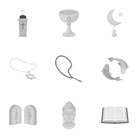 niqab: Religion set icons in monochrome style. Big collection of religion vector symbol stock illustration Stock Photo