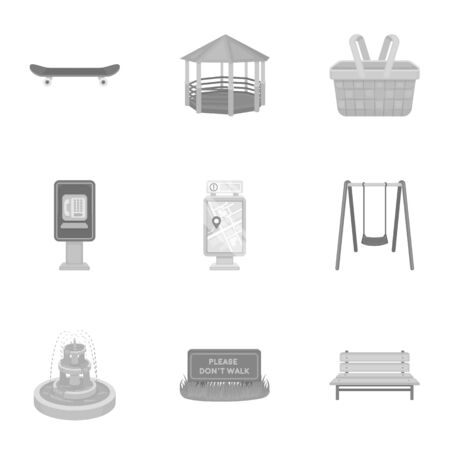 parus: Park set icons in monochrome style. Big collection of park vector symbol stock illustration