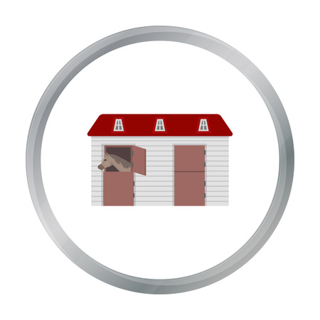 horse stable: Horse stable icon in cartoon style isolated on white background. Hippodrome and horse symbol stock vector illustration. Illustration