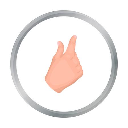 Zoom in gesture icon in cartoon style isolated on white background. Hand gestures symbol stock vector illustration. Vektoros illusztráció