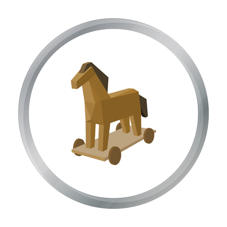 Trojan horse icon in cartoon style isolated on white background. Hackers and hacking symbol stock vector illustration.