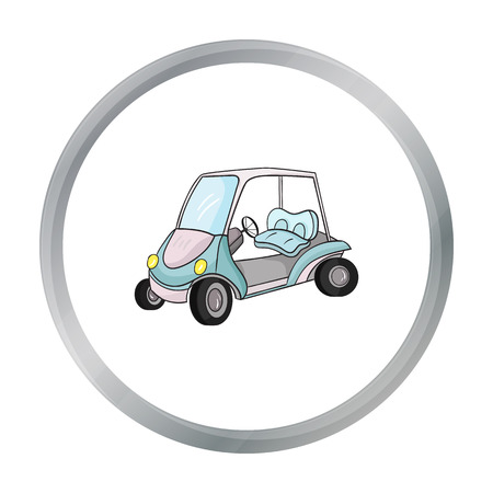 Golf cart icon in cartoon style isolated on white background. Golf club symbol stock vector illustration. Illustration