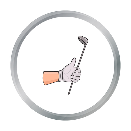 chipping: Holding of a golf club icon in cartoon style isolated on white background. Golf club symbol stock vector illustration.