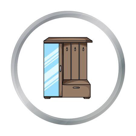 Vestibule wardrobe icon in cartoon style isolated on white background. Furniture and home interior symbol stock vector illustration.