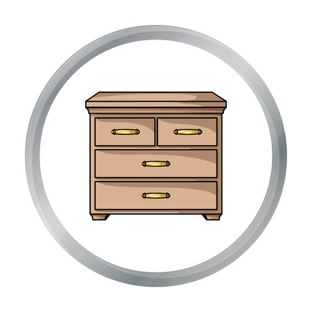 joinery: Wooden cabinet with drawers icon in cartoon style isolated on white background. Furniture and home interior symbol stock vector illustration.