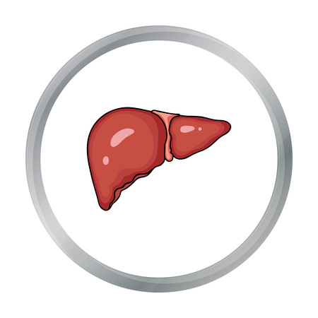 bile: Human liver icon in cartoon style isolated on white background. Human organs symbol stock vector illustration.