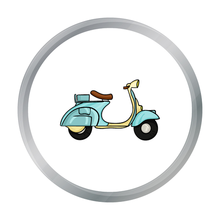 Italian scooter from Italy icon in cartoon style isolated on white background. Italy country symbol stock vector illustration.