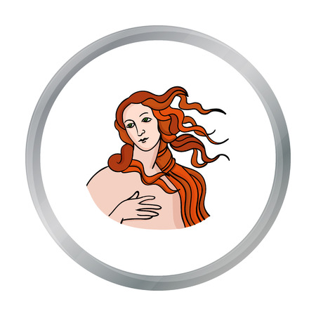 renaissance woman: Italian goddess of love icon in cartoon style isolated on white background. Italy country symbol stock vector illustration. Illustration