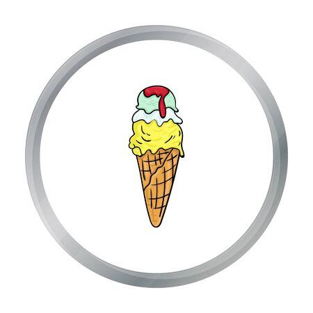 gelato: Italian gelato icon in cartoon style isolated on white background. Italy country symbol stock vector illustration. Illustration