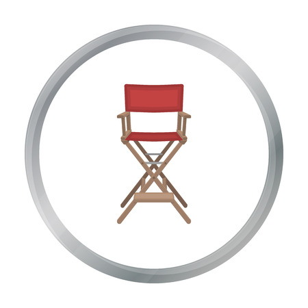 directing: Directors chair icon in cartoon style isolated on white background. Films and cinema symbol stock vector illustration.