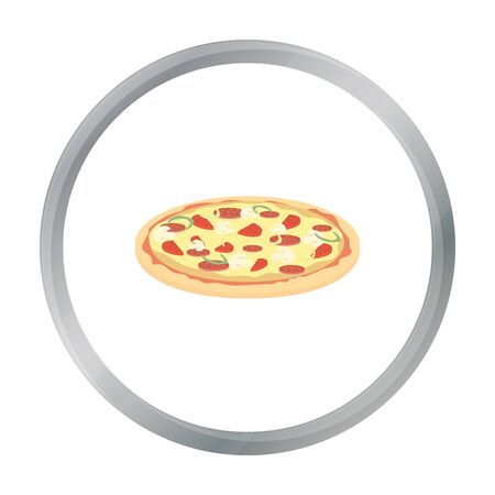 cheesy: Pizza vector icon in cartoon style for web Illustration