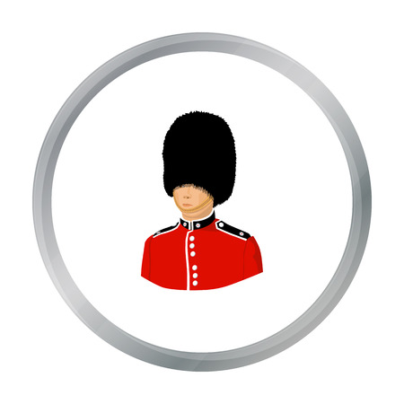 bearskin: Queens guard icon in cartoon style isolated on white background. England country symbol stock vector illustration.