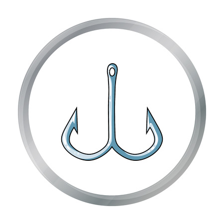 Fishing hook icon in cartoon style isolated on white background. Fishing symbol stock vector illustration.