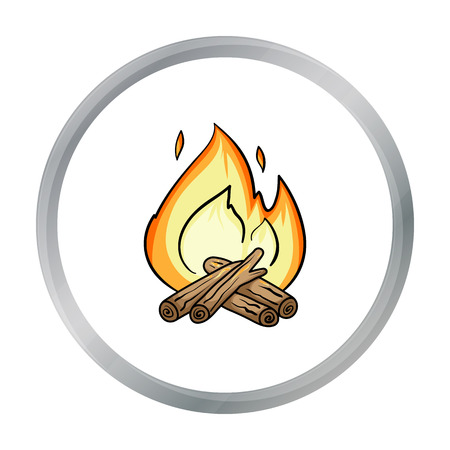 woodpile: Campfire icon in cartoon style isolated on white background. Fishing symbol stock vector illustration. Illustration