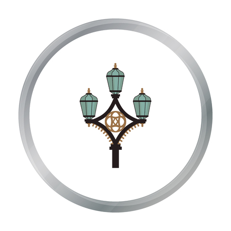 Street light icon in cartoon style isolated on white background. England country symbol stock vector illustration.