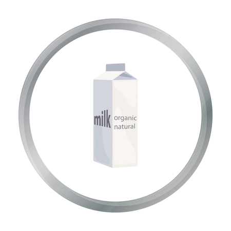 gable: Milk gable top carton package icon in cartoon style isolated on white background. Milk product and sweet symbol stock vector illustration. Illustration