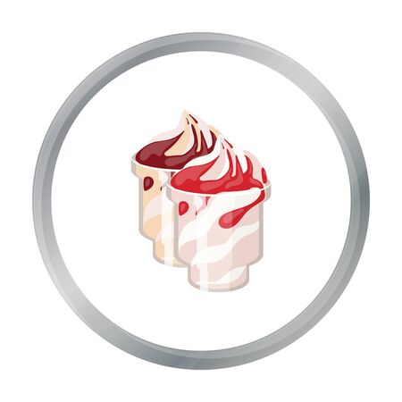 frozen yogurt: Frozen yogurt with syrup in cups icon in cartoon style isolated on white background. Milk product and sweet symbol stock vector illustration.