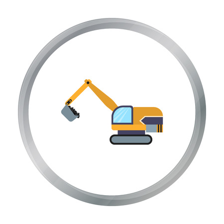 earth mover: Excavator icon in cartoon style isolated on white background. Mine symbol stock vector illustration. Illustration
