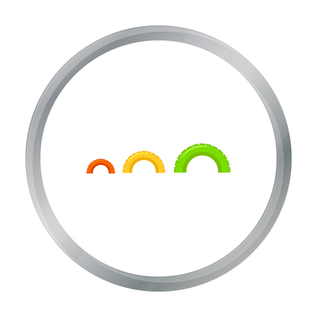 Tire on playgarden icon in cartoon style isolated on white background. Play garden symbol stock vector illustration.
