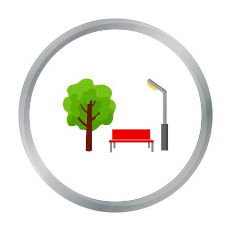 green lantern: Park icon in cartoon style isolated on white background. Play garden symbol stock vector illustration.