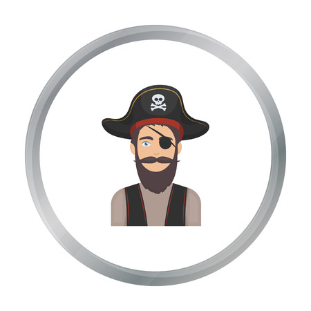eye patch: Pirate with eye patch icon in cartoon style isolated on white background. Pirates symbol stock vector illustration.