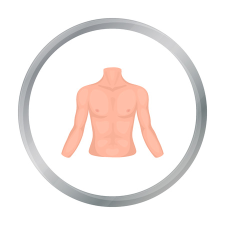unclothed: Chest icon in cartoon style isolated on white background. Part of body symbol stock vector illustration.