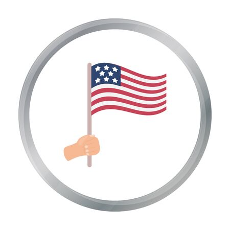 american history: American flag icon in cartoon style isolated on white background. Patriot day symbol stock vector illustration.