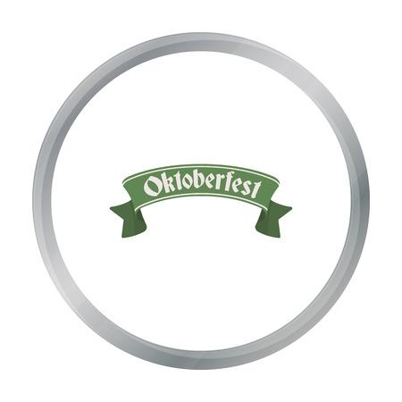 bavarian culture: Oktoberfest banner icon in cartoon style isolated on white background. Oktoberfest symbol stock vector illustration. Illustration