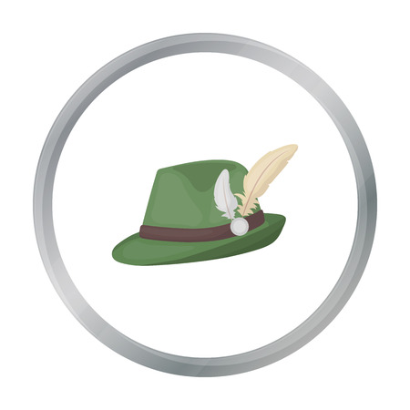 clothe: Tyrolean hat icon in cartoon style isolated on white background. Oktoberfest symbol stock vector illustration.