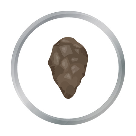 stoneage: Stone tool icon in cartoon style isolated on white background. Stone age symbol stock vector illustration.