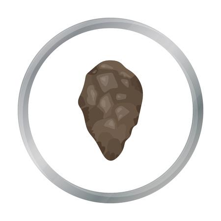 habilis: Stone tool icon in cartoon style isolated on white background. Stone age symbol stock vector illustration.