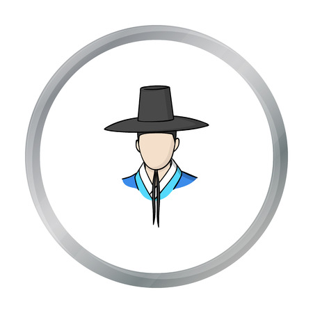 old times: Traditional korean hat icon in cartoon style isolated on white background. South Korea symbol stock vector illustration. Illustration