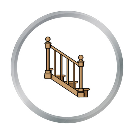 Stairs icon in cartoon style isolated on white background. Sawmill and timber symbol stock vector illustration.