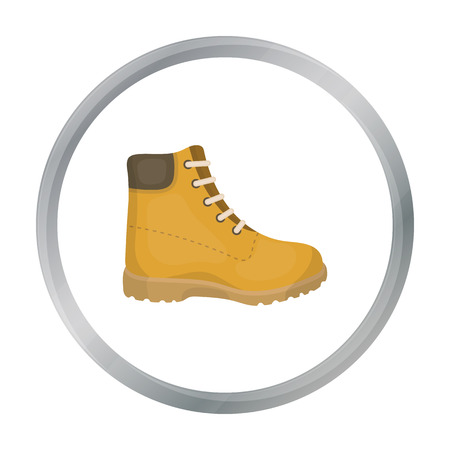 Hiking boots icon in cartoon style isolated on white background. Shoes symbol stock vector illustration.