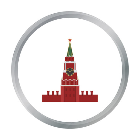 Kremlin icon in cartoon style isolated on white background. Russian country symbol stock vector illustration.