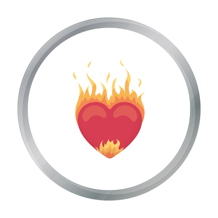 Heart in flame icon in cartoon style isolated on white background. Romantic symbol stock vector illustration.