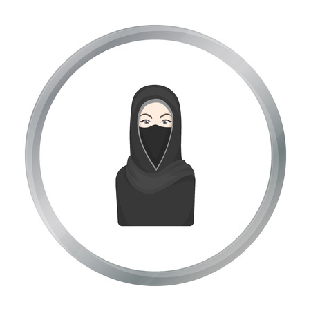 niqab: Niqab icon in cartoon style isolated on white background. Religion symbol stock vector illustration.