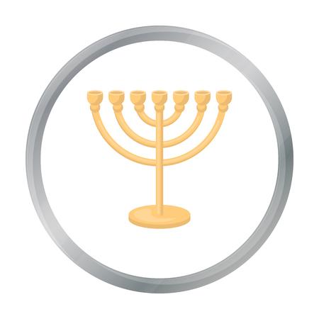 Menorah icon in cartoon style isolated on white background. Religion symbol stock vector illustration.