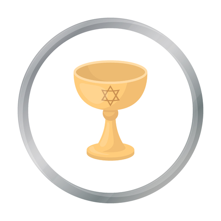 praise: Wine cup icon in cartoon style isolated on white background. Religion symbol stock vector illustration.