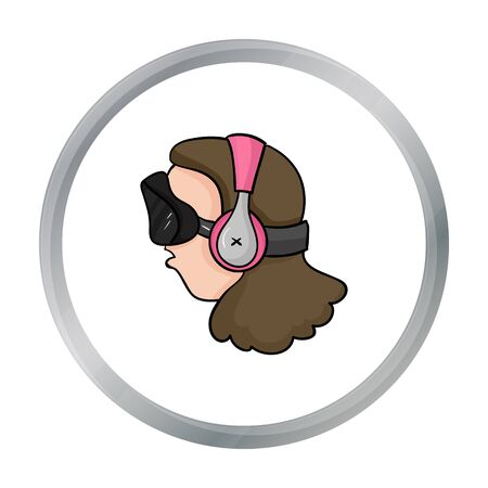 cyber woman: Player with virtual reality headcartoon icon in cartoon style isolated on white background. Virtual reality symbol stock vector illustration.