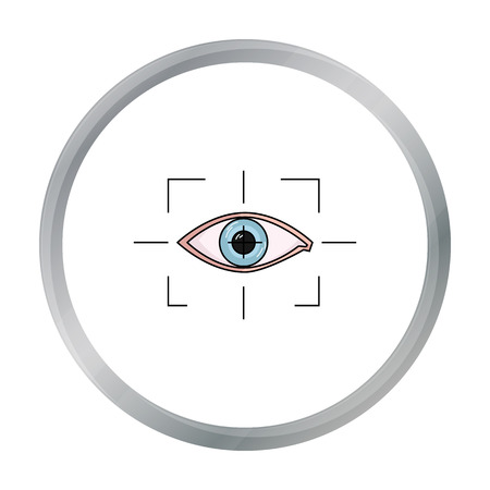 Focus of eye in the virtual reality icon in cartoon style isolated on white background. Virtual reality symbol stock vector illustration. Illustration