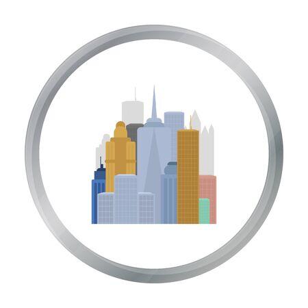 Megalopolis icoon in cartoon-stijl op een witte achtergrond. USA land symbool stock vector illustratie. Vector Illustratie