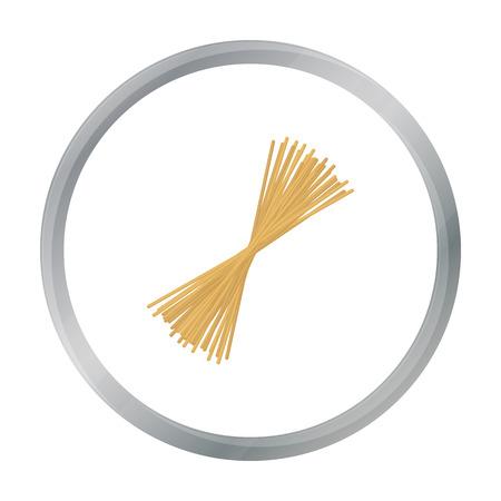 Spaghetti pasta icon in cartoon style isolated on white background. Types of pasta symbol stock vector illustration. Illustration