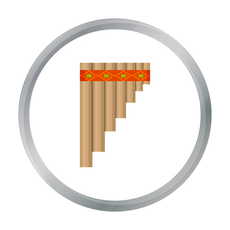 classical theater: Mexican pan flute icon in cartoon style isolated on white background. Mexico country symbol stock vector illustration. Illustration