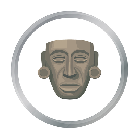 american history: Mayan mask icon in cartoon style isolated on white background. Mexico country symbol stock vector illustration.