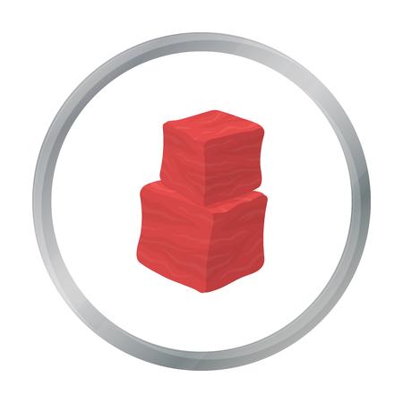 En cubitos icono de carne de vacuno en estilo de dibujos animados aislado en el fondo blanco. Carnes símbolo ilustración stock de vectores Foto de archivo - 69990199