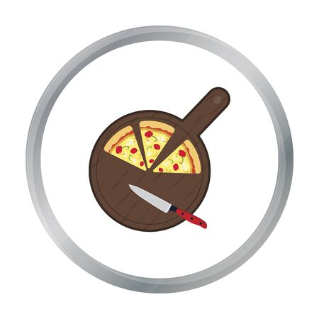 Pizza on cutting board icon in cartoon style isolated on white background. Pizza and pizzeria symbol stock vector illustration.