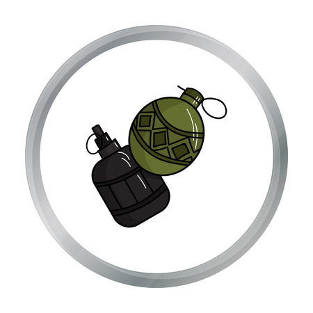 Paintball hand grenade icon in cartoon style isolated on white background. Paintball symbol stock vector illustration.