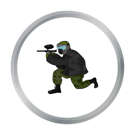 Paintball player icon in cartoon style isolated on white background. Paintball symbol stock vector illustration. Illustration