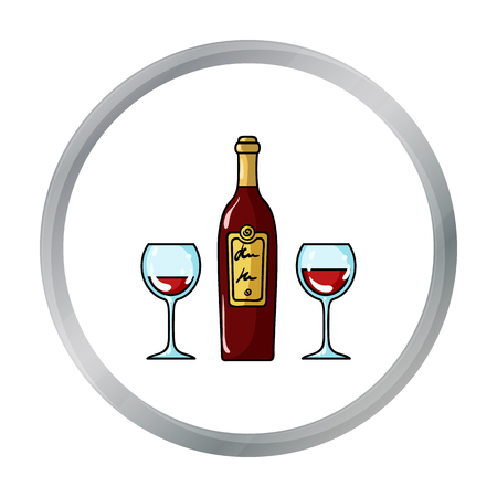 Bottle of red wine with glasses icon in cartoon style isolated on white background. Restaurant symbol stock vector illustration.